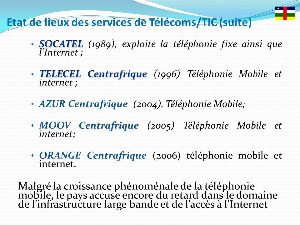 Etat de lieux des services de Télécoms/TIC (suite) SOCATEL SOCATEL (1989), exploite la téléphonie fixe ainsi que lInternet ; TELECELCentrafrique TELECEL Centrafrique (1996) Téléphonie Mobile et internet ; AZUR Centrafrique (2004), Téléphonie Mobile; Centrafrique MOOV Centrafrique (2005) Téléphonie Mobile et internet; ORANGE Centrafrique (2006) téléphonie mobile et internet.