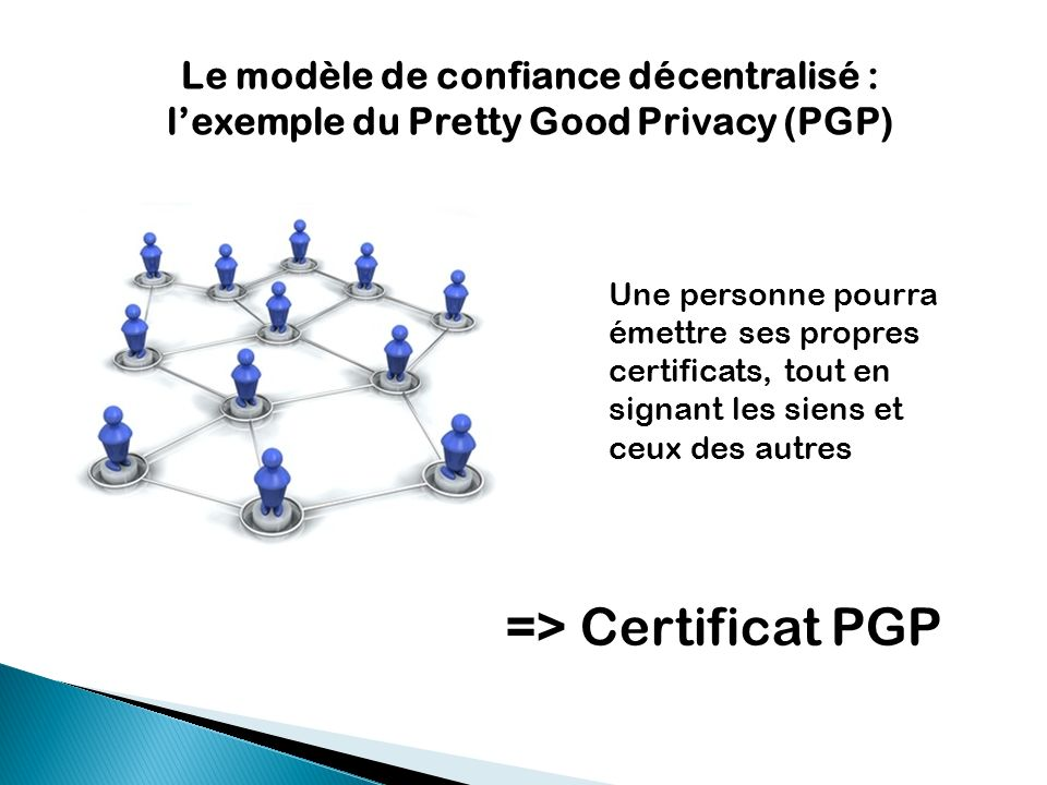 Le modèle de confiance décentralisé : lexemple du Pretty Good Privacy (PGP) => Certificat PGP Une personne pourra émettre ses propres certificats, tou