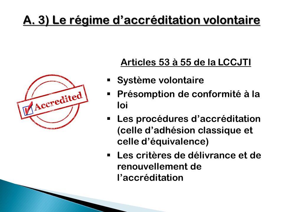 A. 3) Le régime daccréditation volontaire Articles 53 à 55 de la LCCJTI Système volontaire Présomption de conformité à la loi Les procédures daccrédit