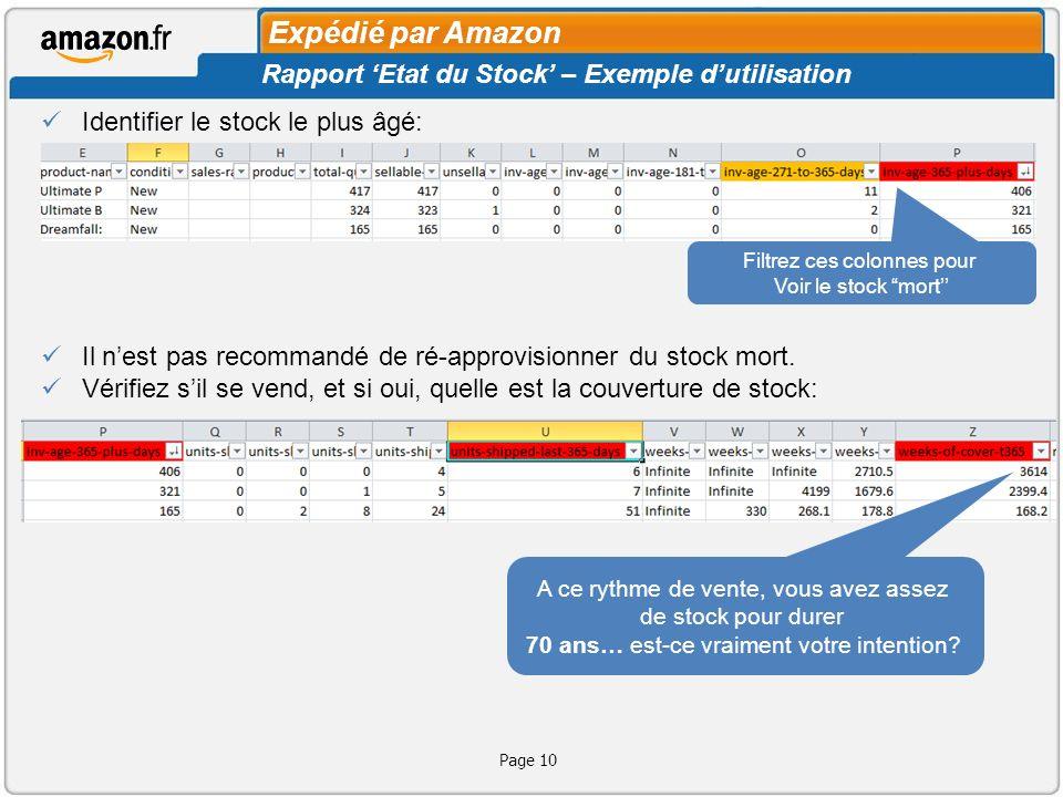 Page 11 Vérifiez si vous pouvez faire quelque chose pour vendre ce stock Identifiez aussi le stock sain, cest-à-dire, récemment mis en stock, en quantité adéquate, et qui se vend à un bon rythme: Réapprovisionnez le stock se vendant Plus rapidement que prévu Expédié par Amazon Rapport Etat du Stock – Exemple dutilisation Si vous avez déjà le meilleur prix, et avez tout essayé Sans succès (ex: améliorer la fiche produit), Alors pensez à enlever ce stock