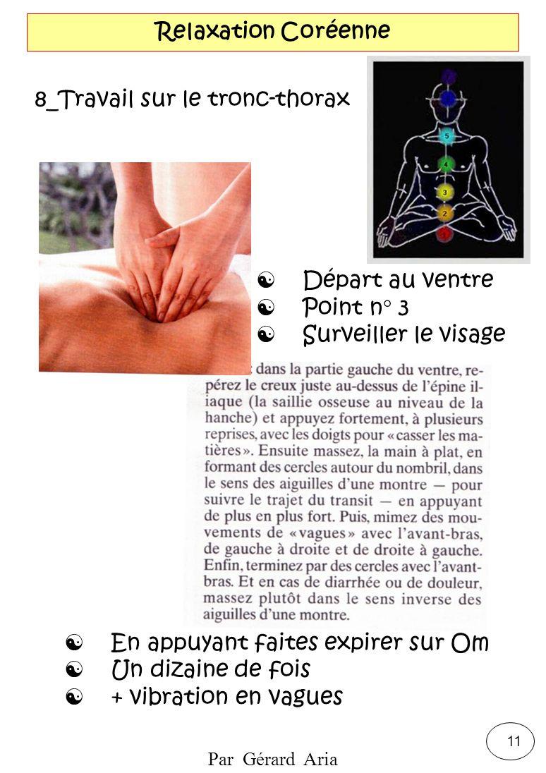 Par Gérard Aria 11 Relaxation Coréenne 8_Travail sur le tronc-thorax Départ au ventre Point n° 3 Surveiller le visage En appuyant faites expirer sur O