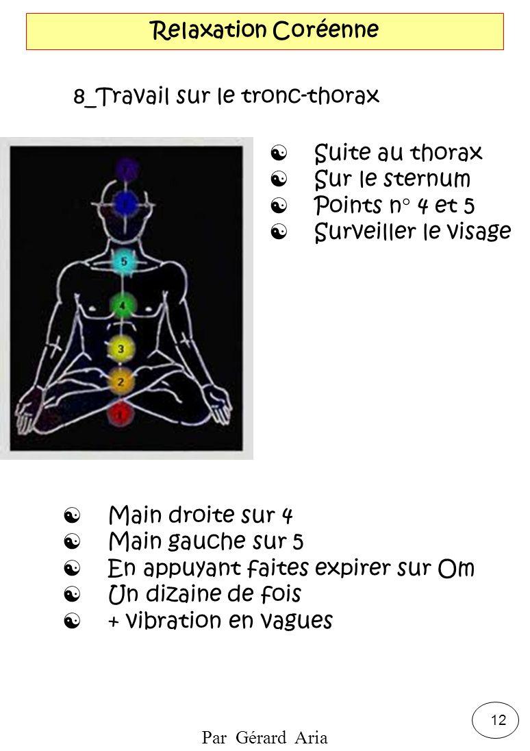 Par Gérard Aria 12 Relaxation Coréenne 8_Travail sur le tronc-thorax Suite au thorax Sur le sternum Points n° 4 et 5 Surveiller le visage Main droite