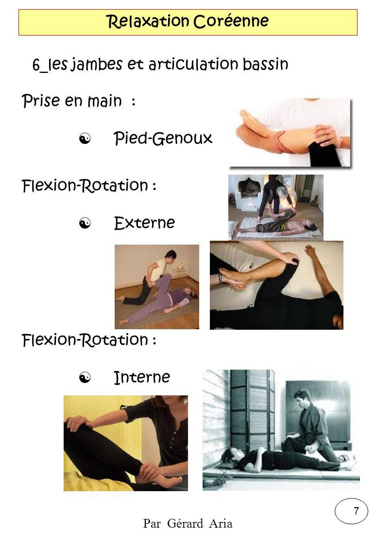 Par Gérard Aria 7 Relaxation Coréenne 6_les jambes et articulation bassin Prise en main : Pied-Genoux Flexion-Rotation : Externe Flexion-Rotation : In