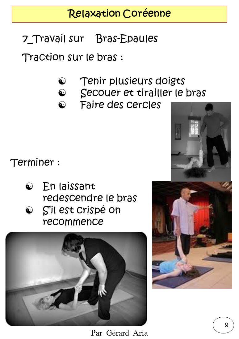 Par Gérard Aria 9 Relaxation Coréenne 7_Travail sur Bras-Epaules Traction sur le bras : Tenir plusieurs doigts Secouer et tirailler le bras Faire des