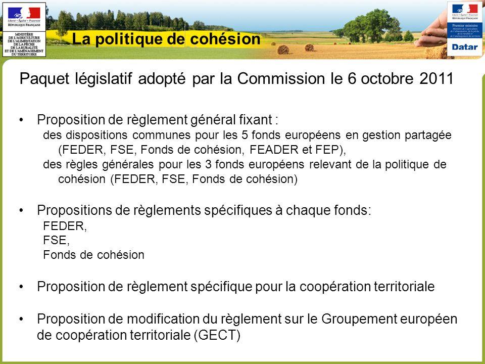 Proposition de règlement général fixant : des dispositions communes pour les 5 fonds européens en gestion partagée (FEDER, FSE, Fonds de cohésion, FEADER et FEP), des règles générales pour les 3 fonds européens relevant de la politique de cohésion (FEDER, FSE, Fonds de cohésion) Propositions de règlements spécifiques à chaque fonds: FEDER, FSE, Fonds de cohésion Proposition de règlement spécifique pour la coopération territoriale Proposition de modification du règlement sur le Groupement européen de coopération territoriale (GECT) Paquet législatif adopté par la Commission le 6 octobre 2011 La politique de cohésion