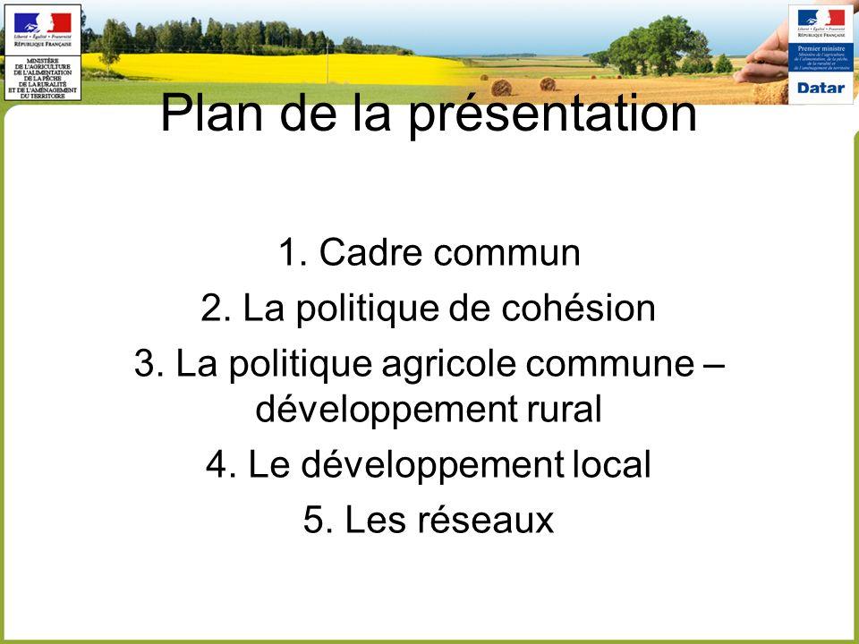 Plan de la présentation 1. Cadre commun 2. La politique de cohésion 3. La politique agricole commune – développement rural 4. Le développement local 5