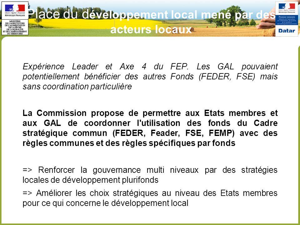 Place du d éveloppement local mené par des acteurs locaux Expérience Leader et Axe 4 du FEP. Les GAL pouvaient potentiellement bénéficier des autres F