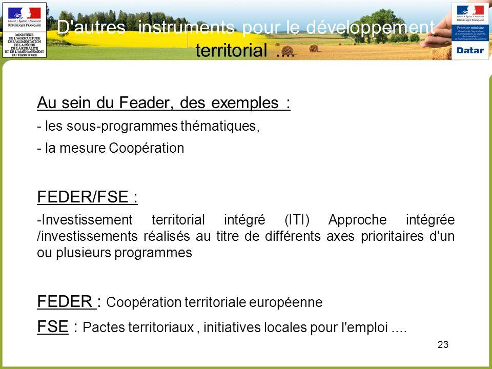 23 D'autres instruments pour le développement territorial.... Au sein du Feader, des exemples : - les sous-programmes thématiques, - la mesure Coopéra