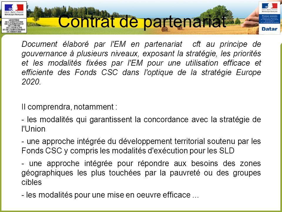 Contrat de partenariat Document élaboré par l'EM en partenariat cft au principe de gouvernance à plusieurs niveaux, exposant la stratégie, les priorit