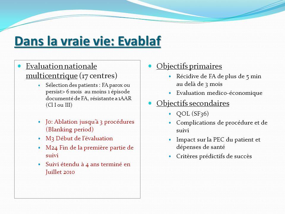 Dans la vraie vie: Evablaf Evaluation nationale multicentrique (17 centres) Sélection des patients : FA parox ou persist> 6 mois au moins 1 épisode do