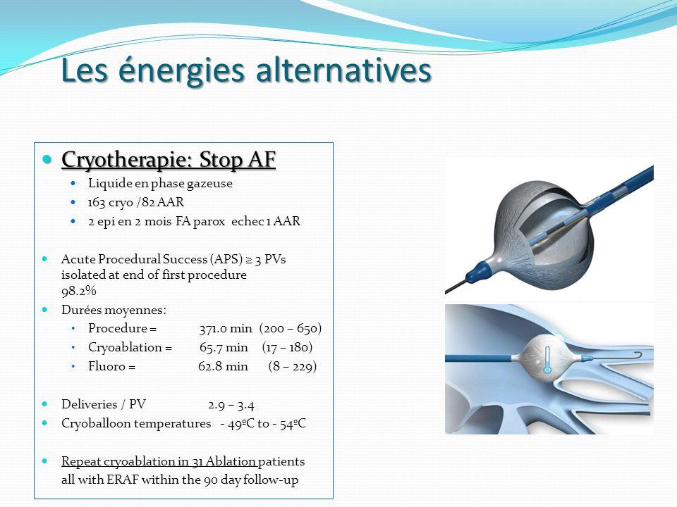 Les énergies alternatives Cryotherapie: Stop AF Cryotherapie: Stop AF Liquide en phase gazeuse 163 cryo /82 AAR 2 epi en 2 mois FA parox echec 1 AAR A