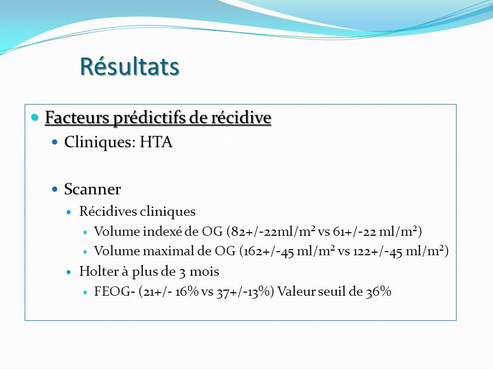 Résultats Facteurs prédictifs de récidive Facteurs prédictifs de récidive Cliniques: HTA Scanner Récidives cliniques Volume indexé de OG (82+/-22ml/m² vs 61+/-22 ml/m²) Volume maximal de OG (162+/-45 ml/m² vs 122+/-45 ml/m²) Holter à plus de 3 mois FEOG- (21+/- 16% vs 37+/-13%) Valeur seuil de 36%