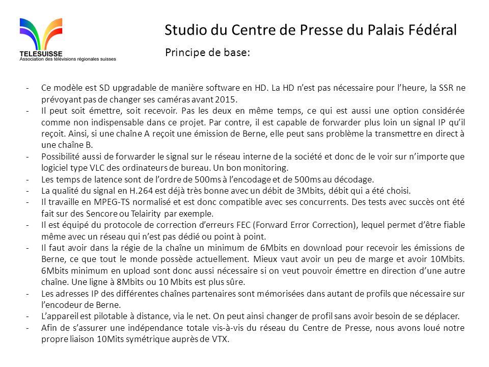 Studio du Centre de Presse du Palais Fédéral -Ce modèle est SD upgradable de manière software en HD. La HD nest pas nécessaire pour lheure, la SSR ne