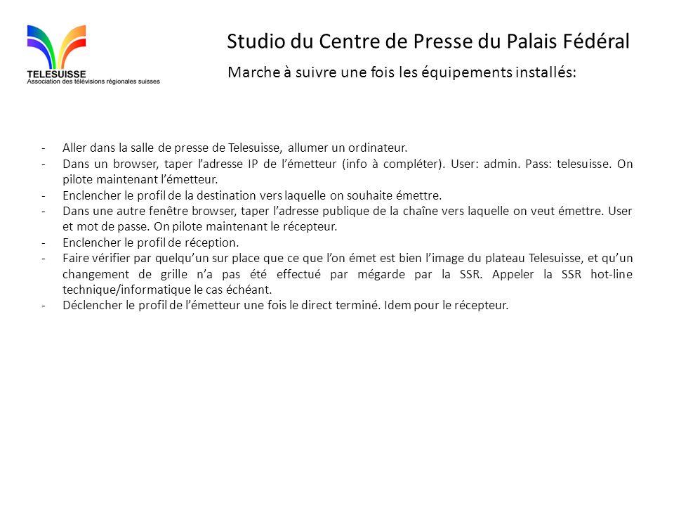Studio du Centre de Presse du Palais Fédéral Marche à suivre une fois les équipements installés: -Aller dans la salle de presse de Telesuisse, allumer