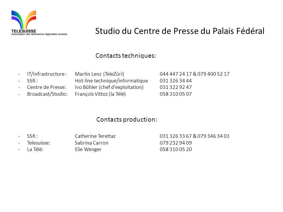 Studio du Centre de Presse du Palais Fédéral Contacts techniques: -IT/Infrastructure :Martin Lenz(TeleZüri)044 447 24 17 & 079 400 52 17 -SSR :Hot-lin