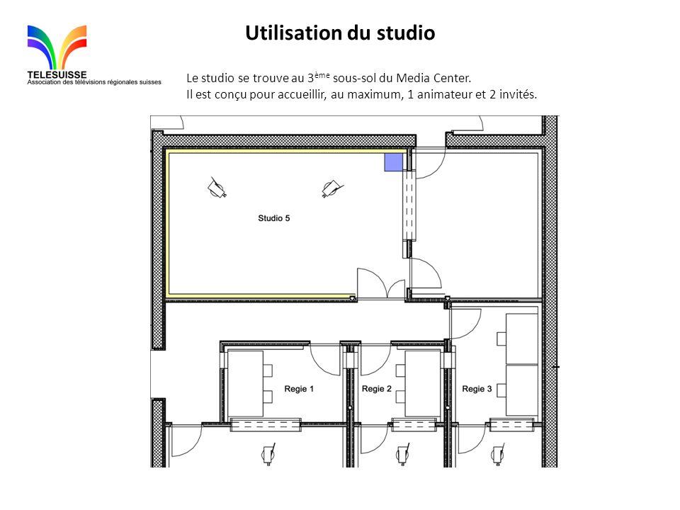 Utilisation du studio Le studio se trouve au 3 ème sous-sol du Media Center. Il est conçu pour accueillir, au maximum, 1 animateur et 2 invités.