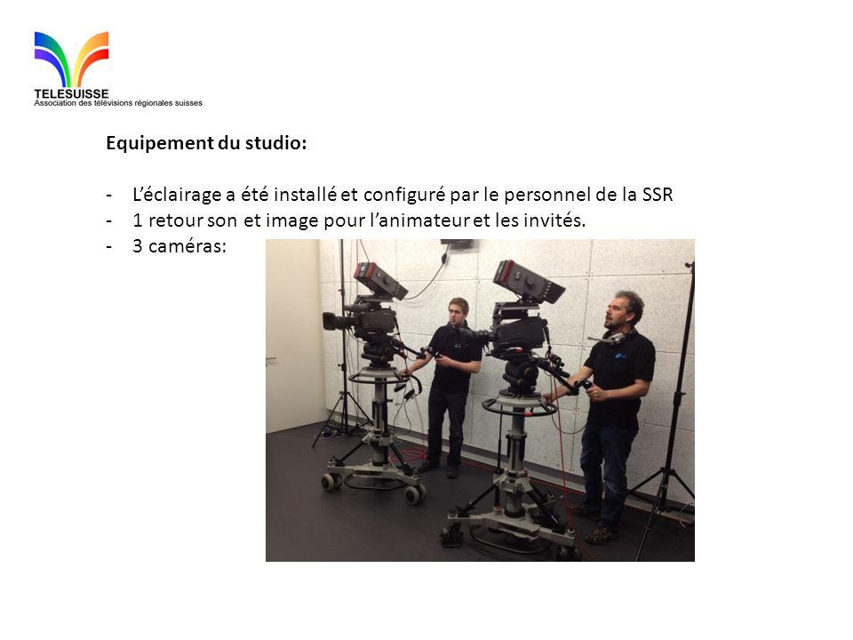 Equipement du studio: -Léclairage a été installé et configuré par le personnel de la SSR -1 retour son et image pour lanimateur et les invités. -3 cam