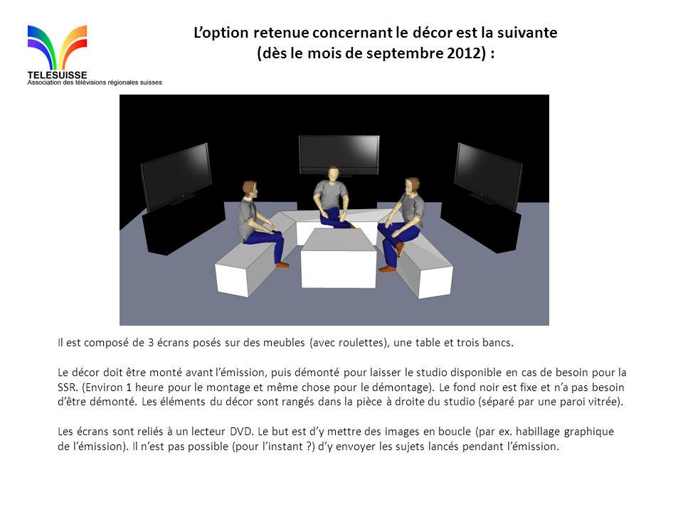 Loption retenue concernant le décor est la suivante (dès le mois de septembre 2012) : Il est composé de 3 écrans posés sur des meubles (avec roulettes