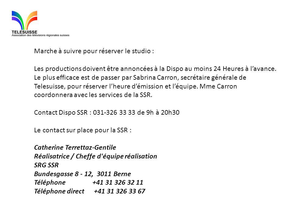 Marche à suivre pour réserver le studio : Les productions doivent être annoncées à la Dispo au moins 24 Heures à lavance. Le plus efficace est de pass