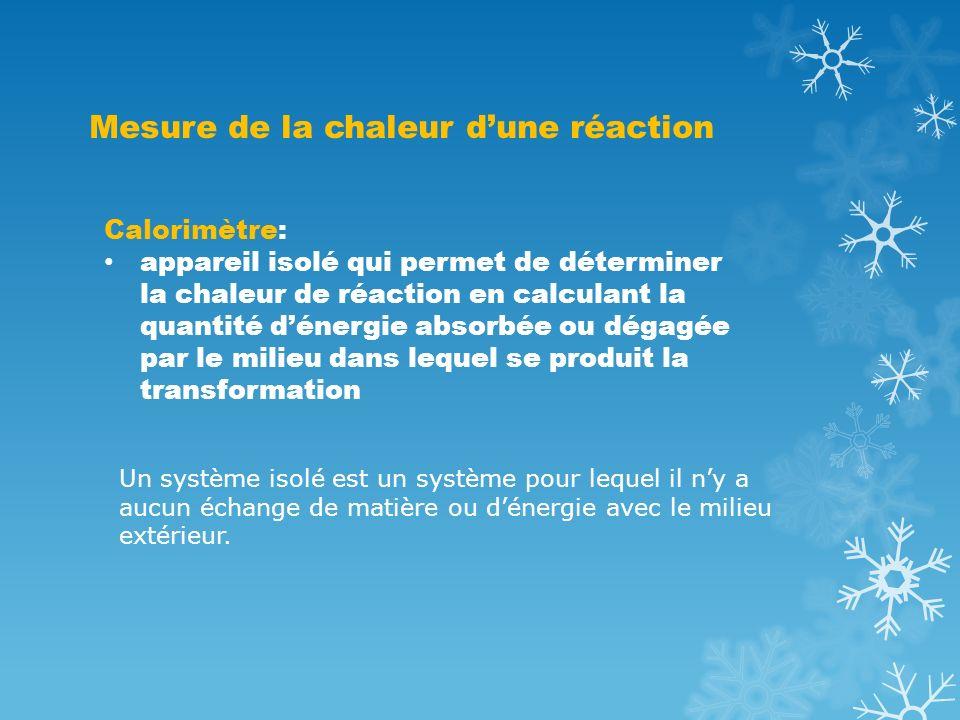 Mesure de la chaleur dune réaction Calorimètre: appareil isolé qui permet de déterminer la chaleur de réaction en calculant la quantité dénergie absor