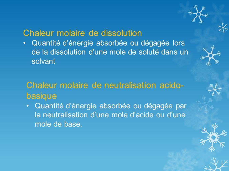 Chaleur molaire de dissolution Quantité dénergie absorbée ou dégagée lors de la dissolution dune mole de soluté dans un solvant Chaleur molaire de neutralisation acido- basique Quantité dénergie absorbée ou dégagée par la neutralisation dune mole dacide ou dune mole de base.