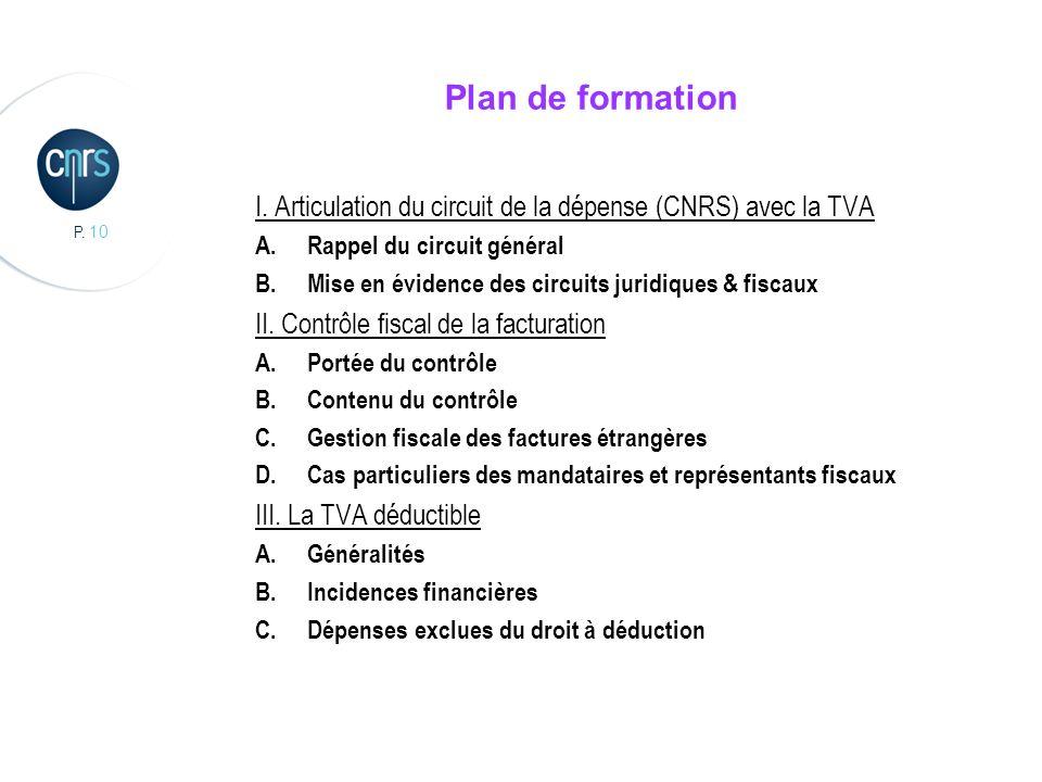 P. 10 Plan de formation I. Articulation du circuit de la dépense (CNRS) avec la TVA A.Rappel du circuit général B.Mise en évidence des circuits juridi