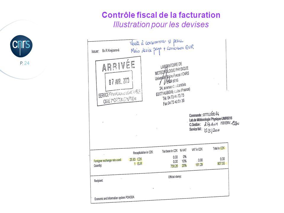P. 24 Contrôle fiscal de la facturation Illustration pour les devises