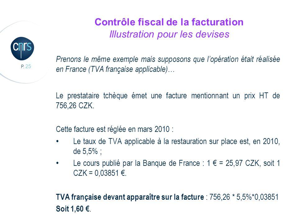 P. 25 Contrôle fiscal de la facturation Illustration pour les devises Prenons le même exemple mais supposons que lopération était réalisée en France (