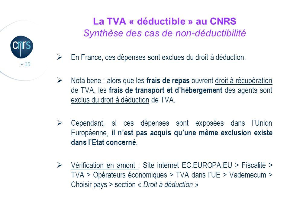 P. 35 La TVA « déductible » au CNRS Synthèse des cas de non-déductibilité En France, ces dépenses sont exclues du droit à déduction. Nota bene : alors
