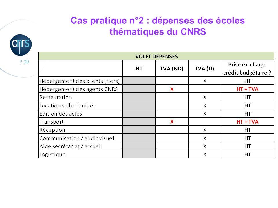 P. 39 Cas pratique n°2 : dépenses des écoles thématiques du CNRS