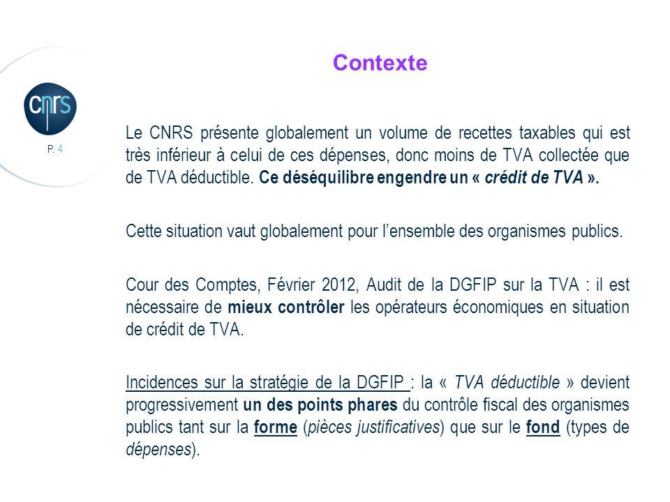 P. 4 Contexte Le CNRS présente globalement un volume de recettes taxables qui est très inférieur à celui de ces dépenses, donc moins de TVA collectée