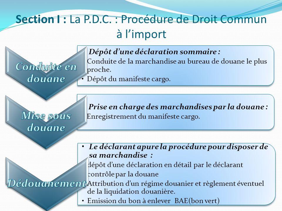 Dépôt dune déclaration sommaire : Conduite de la marchandise au bureau de douane le plus proche. Dépôt du manifeste cargo. Dépôt dune déclaration somm