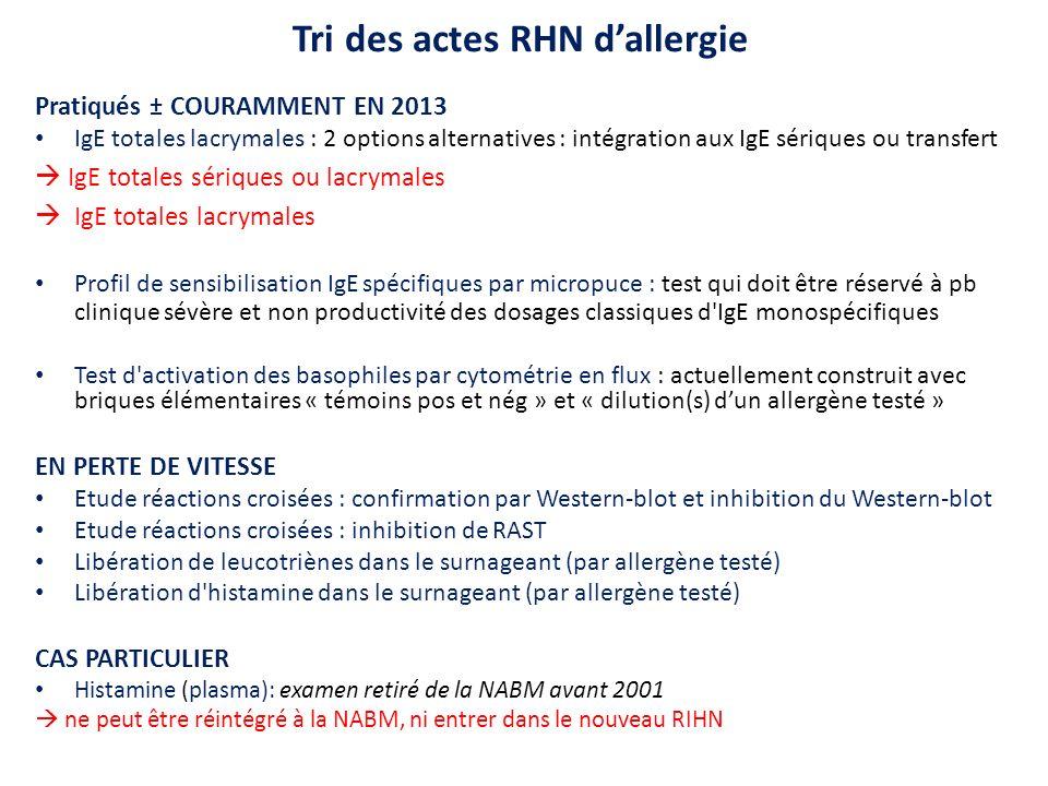 Tri des actes RHN dallergie Pratiqués ± COURAMMENT EN 2013 IgE totales lacrymales : 2 options alternatives : intégration aux IgE sériques ou transfert