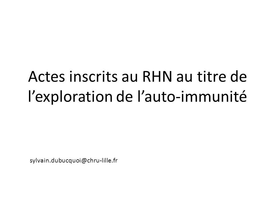 Actes inscrits au RHN au titre de lexploration de lauto-immunité sylvain.dubucquoi@chru-lille.fr
