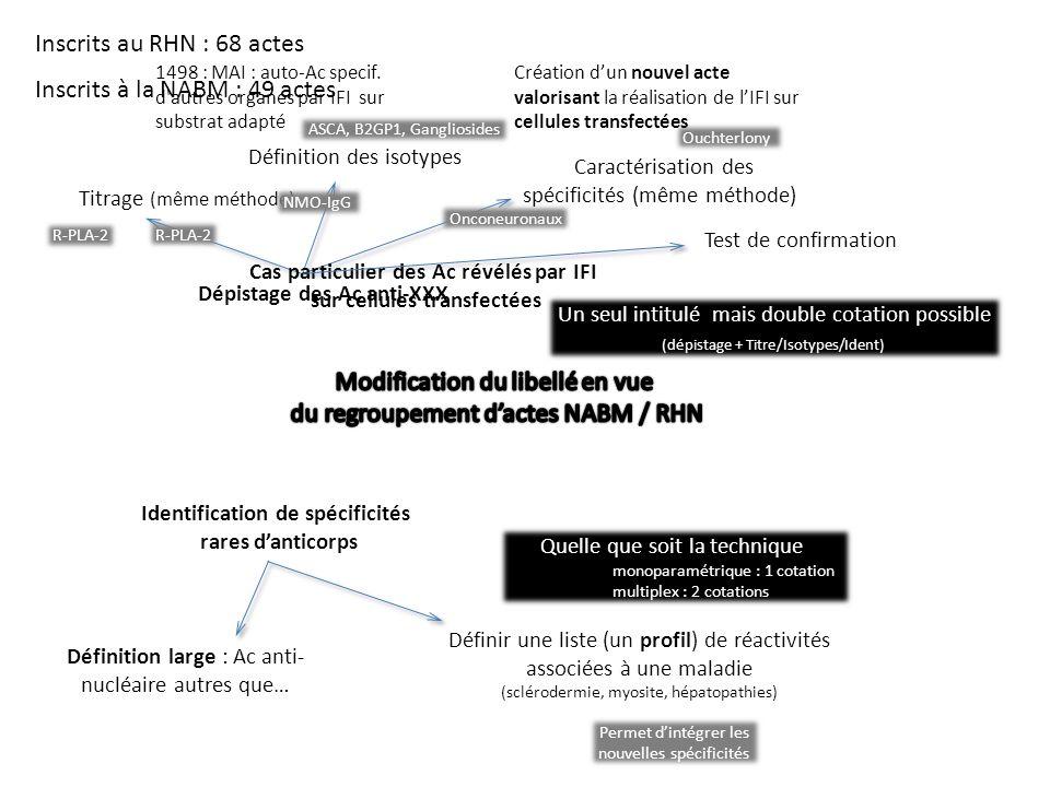 Inscrits au RHN : 68 actes Inscrits à la NABM : 49 actes Dépistage des Ac anti-XXX Titrage (même méthode) Définition des isotypes Caractérisation des