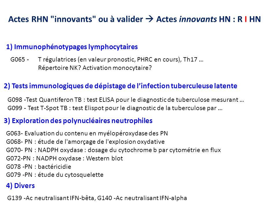 G063- Evaluation du contenu en myélopéroxydase des PN G068- PN : étude de l'amorçage de l'explosion oxydative G070- PN : NADPH oxydase : dosage du cyt