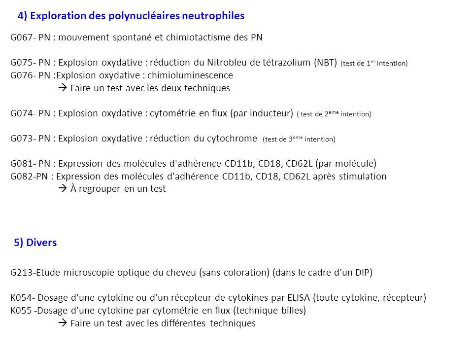 G067- PN : mouvement spontané et chimiotactisme des PN G075- PN : Explosion oxydative : réduction du Nitrobleu de tétrazolium (NBT) (test de 1 er inte