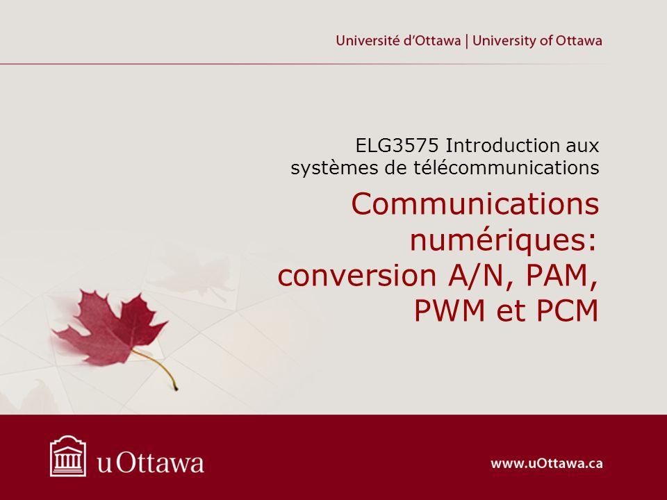 Communications numériques: conversion A/N, PAM, PWM et PCM ELG3575 Introduction aux systèmes de télécommunications
