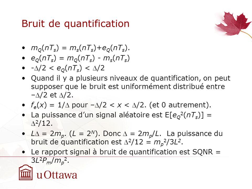 Bruit de quantification m Q (nT s ) = m s (nT s )+e Q (nT s ). e Q (nT s ) = m Q (nT s ) - m s (nT s ) -/2 < e Q (nT s ) < /2 Quand il y a plusieurs n