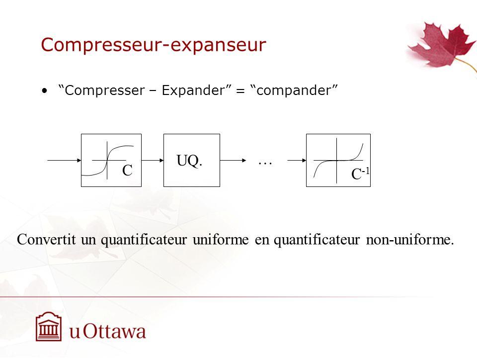 Compresseur-expanseur Compresser – Expander = compander UQ. … C C -1 Convertit un quantificateur uniforme en quantificateur non-uniforme.