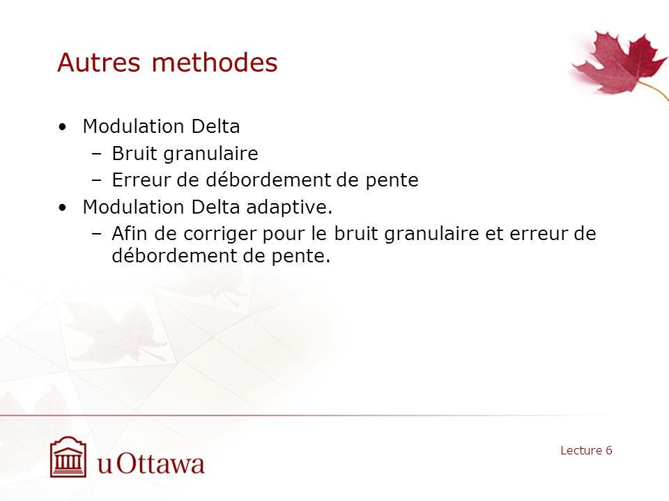 Autres methodes Modulation Delta –Bruit granulaire –Erreur de débordement de pente Modulation Delta adaptive. –Afin de corriger pour le bruit granulai