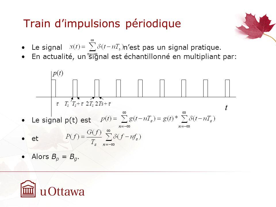 Train dimpulsions périodique Le signal nest pas un signal pratique. En actualité, un signal est échantillonné en multipliant par: Le signal p(t) est e