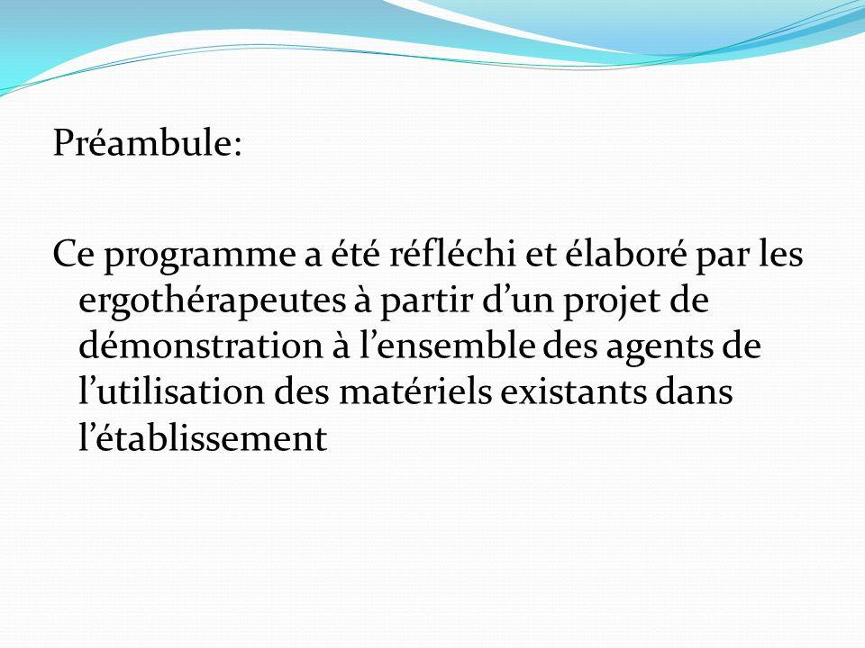 Objectifs: -Améliorer les installations au lit et au fauteuil pour un meilleur confort des patients/résidents -Optimiser lutilisation des matériels existants Bénéficiaires: - Tous les agents IDE, AS, AMP