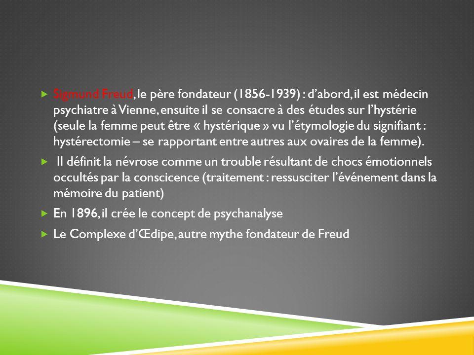 Sigmund Freud, le père fondateur (1856-1939) : dabord, il est médecin psychiatre à Vienne, ensuite il se consacre à des études sur lhystérie (seule la