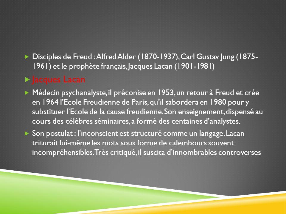 Disciples de Freud : Alfred Alder (1870-1937), Carl Gustav Jung (1875- 1961) et le prophète français, Jacques Lacan (1901-1981) Jacques Lacan Médecin