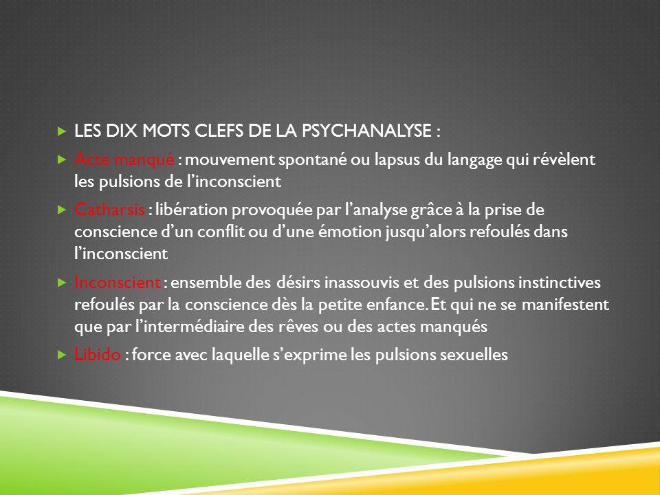 LES DIX MOTS CLEFS DE LA PSYCHANALYSE : Acte manqué : mouvement spontané ou lapsus du langage qui révèlent les pulsions de linconscient Catharsis : li
