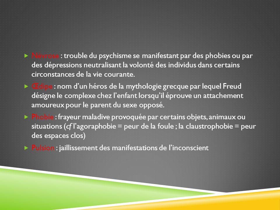Névrose : trouble du psychisme se manifestant par des phobies ou par des dépressions neutralisant la volonté des individus dans certains circonstances