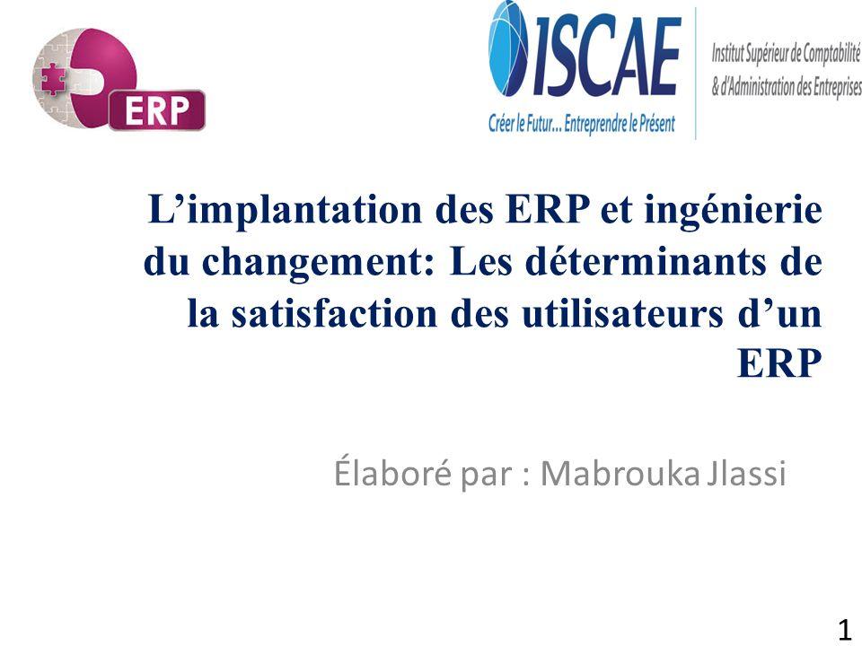 1 Limplantation des ERP et ingénierie du changement: Les déterminants de la satisfaction des utilisateurs dun ERP Élaboré par : Mabrouka Jlassi