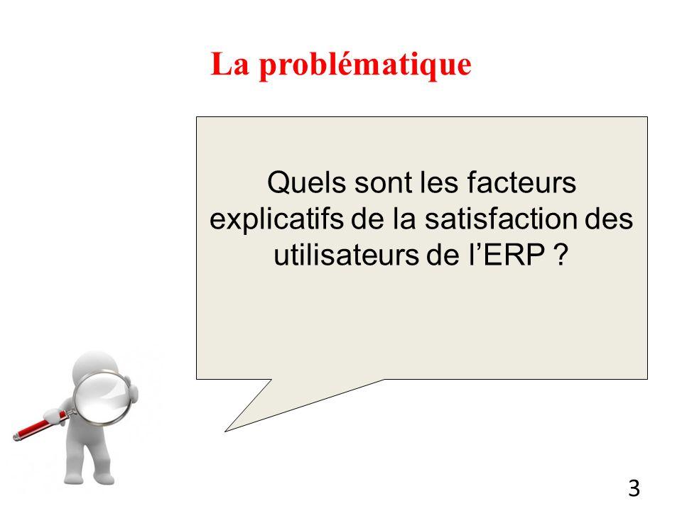 3 La problématique Quels sont les facteurs explicatifs de la satisfaction des utilisateurs de lERP ?