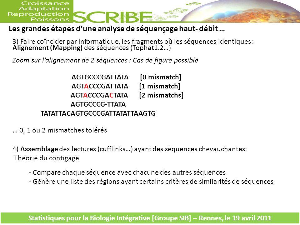 Les grandes étapes dune analyse de séquençage haut- débit … Statistiques pour la Biologie Intégrative [Groupe SIB] – Rennes, le 19 avril 2011 AGTGCCCG